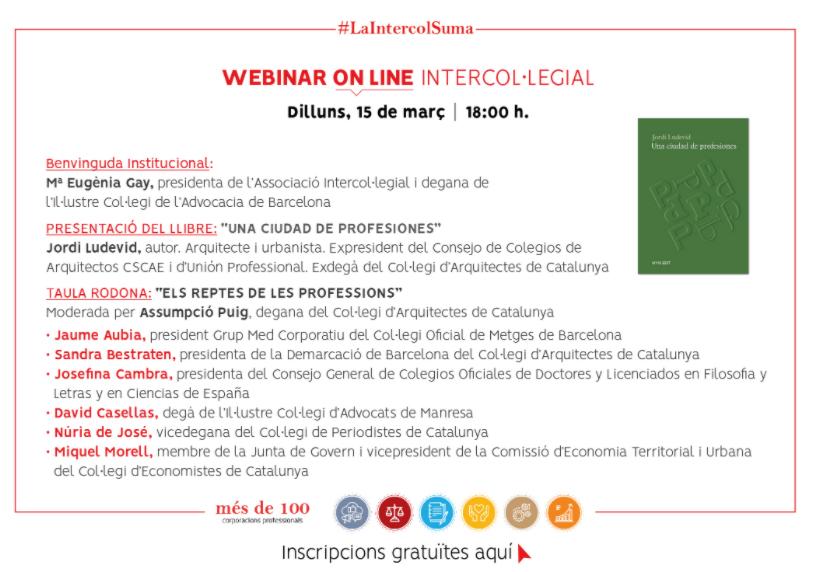 Webinar Intercol·legial · 15 de març de 2021 · 18:00 h